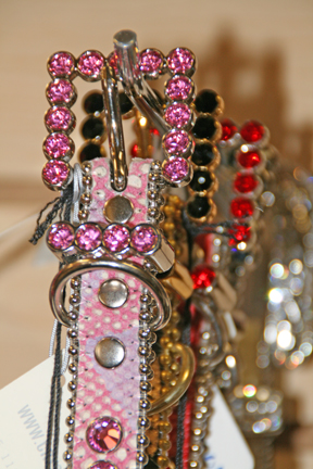 Gorgeous collars, adorned with Swarovski beads. Available at Fluffy Puppies.