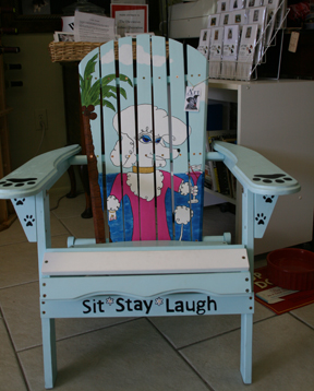 Handmade and hand-painted Adirondack chairs, available at Wet Noses Boutique, Sarasota.