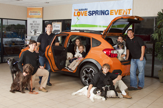 Brothers, Stephen and Pete Mastro with their kids and dogs. Photography by Laura Allen Studios.