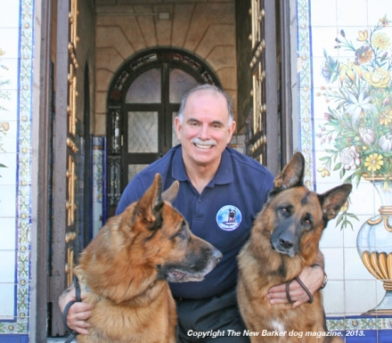 Richard Gonzmart with Rex and Rusty in front of the Columbia Restaurant, Ybor City. Photograph by Anna Cooke for The New Barker dog magazine.