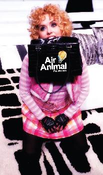 Sylvia with an Air Animal bag, ready to go.