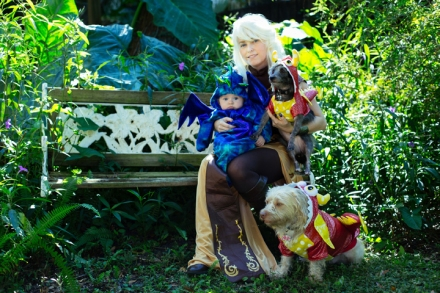 GAME OF BONES - Kari, her son Porter, Eleanor and Abigail dressed as characters from their favorite show, Game Of Thrones. Photograph by Crawford Long.