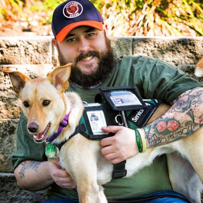 Service dog Hannah with Nate